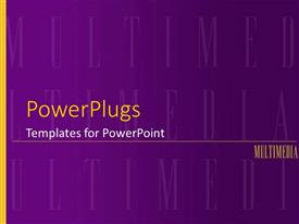 PowerPoint template displaying multimedia purple background with yellow word and stripe