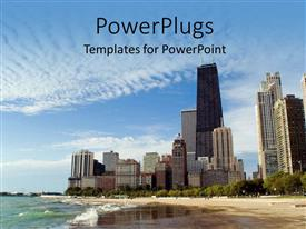 PowerPlugs: PowerPoint template with multiple beach front skyscrapers under blue skies next to ocean