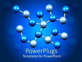PowerPoint template displaying multiple blue and gray linked molecules in blue background