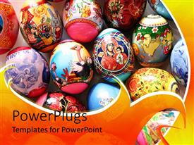 PowerPlugs: PowerPoint template with multiple colored, artistic Easter eggs placed on white surface