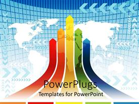 PowerPlugs: PowerPoint template with multiple colored curved arrows pointing up on white world map on blue background
