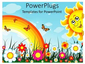 Design enhanced with multiple colorful flowers with rainbow, butterflies and smiling sun