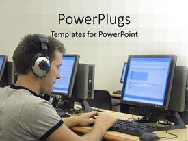 PowerPlugs: PowerPoint template with multiple desktop computers monitors keyboards and mouse on desk with man wearing headphones working on a computer