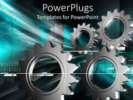 PowerPlugs: PowerPoint template with multiple metallic gray gear displayed on industrial related background