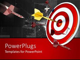 PowerPlugs: PowerPoint template with multiple multi colored darts shot at a red dart board