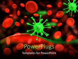 PowerPlugs: PowerPoint template with multitude of red cells and green viruses on dark background