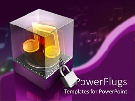 PowerPlugs: PowerPoint template with a music box in 3D form with a lock