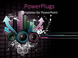 PowerPlugs: PowerPoint template with music depiction with colored equalizer bars and speakers on black background