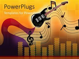 PowerPlugs: PowerPoint template with music depiction with equalizer bars music symbols and guitar