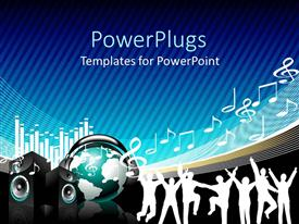 PowerPlugs: PowerPoint template with music depiction with signs, speaker and globe on blue background