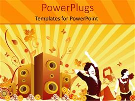 PowerPlugs: PowerPoint template with music depiction with speakers and people dancing on floral background