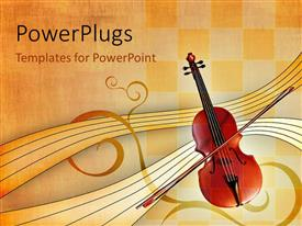 PowerPlugs: PowerPoint template with music depiction with violin, bow and music notes