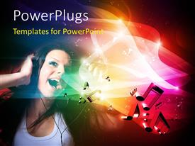 PowerPlugs: PowerPoint template with music depiction with young lady on headphone sings with music symbols