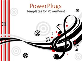 PowerPlugs: PowerPoint template with music instruments treble clef target song white background musician