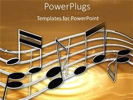 PowerPlugs: PowerPoint template with music notes and sheets on a tan background