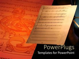 PowerPlugs: PowerPoint template with music sheet with notes next to bigger 3D sheet with notes