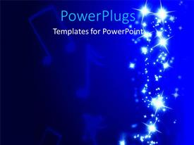 PowerPlugs: PowerPoint template with music symbols in blue background with bright shinny lights