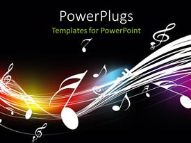 PowerPlugs: PowerPoint template with music symbols floating over curves on dark background