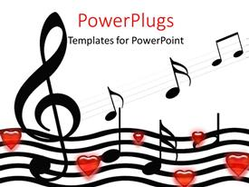 PowerPlugs: PowerPoint template with music symbols and hearts over white background