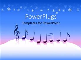 PowerPlugs: PowerPoint template with music symbols on snowy background with snow flakes on blue