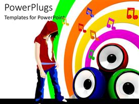 PowerPlugs: PowerPoint template with music symbols and three colorful speakers and man on music themed background