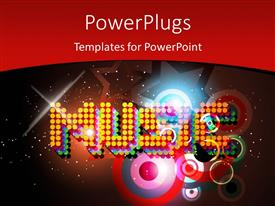 PowerPlugs: PowerPoint template with music theme with colorful background and glowing spotlights
