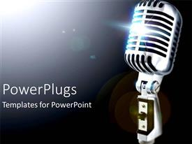 PowerPlugs: PowerPoint template with music theme depicting old fashioned vintage microphone on gradient black and white background
