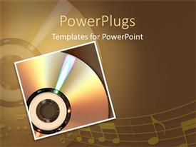 PowerPlugs: PowerPoint template with  musical CD with a stretch of musical note mirrored on the surface