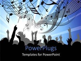 PowerPlugs: PowerPoint template with musical charts and symbols with silhouette of people dancing at musical concert