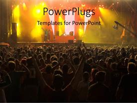 PowerPlugs: PowerPoint template with musical concert with colorful stage and crowd enjoying singers performance