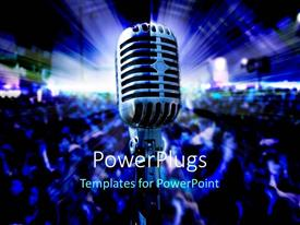 PowerPlugs: PowerPoint template with musical concert with light glowing on stage and crowd dancing
