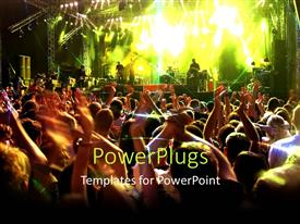 PowerPlugs: PowerPoint template with musical concert with stage lights and people dancing with hands raised
