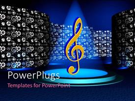 PowerPlugs: PowerPoint template with a musical note under a spot light with lots of small speakers