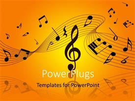 PowerPlugs: PowerPoint template with musical notes and symbols over orage, yellow background