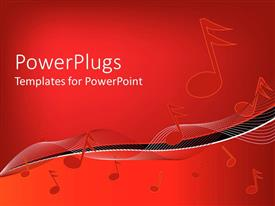 PowerPlugs: PowerPoint template with musical notes on wavy lines on gradient red background