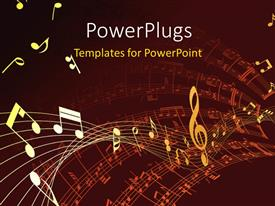 PowerPoint template displaying musical symbol floating over music notes on red background
