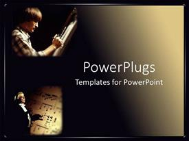 PowerPoint template displaying a musician and  an artist with dark background