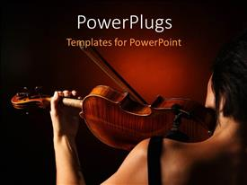 PowerPoint template displaying musician playing violin with dark red color