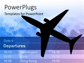 PowerPoint template displaying n airplane with light schedule and map in the background