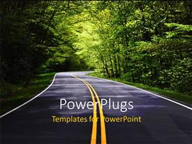 PowerPlugs: PowerPoint template with narrow country road through heavily wooded rural area