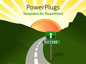 PowerPlugs: PowerPoint template with narrow two lane road through hills with street sign to success
