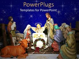 PowerPoint template displaying nativity scene with angel and Christmas wreath