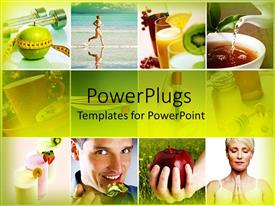 PowerPoint template displaying natural, healthy food and physical exercise keep you healthy