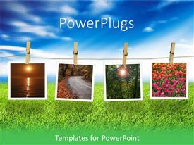 PowerPlugs: PowerPoint template with natural scene Polaroid films held with clothespins on a rope