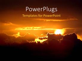 PowerPlugs: PowerPoint template with nature depiction with beautiful sunset in cloudy sky