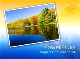 PowerPlugs: PowerPoint template with nature depiction of lake water and autumnal trees reflected in the water