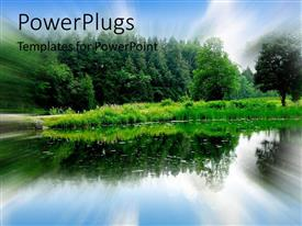 PowerPlugs: PowerPoint template with nature getaway camping lake green forest blue sky wildlife serene calm
