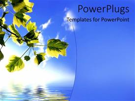 PowerPoint template displaying nature with green leaves on tree blue water and sky