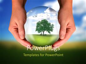 PowerPoint template displaying nature preservation with hand holdingglass globe with tree growing inside