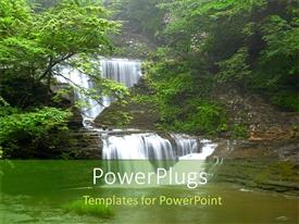 PowerPlugs: PowerPoint template with nature waterfall green forest trees water lush environment